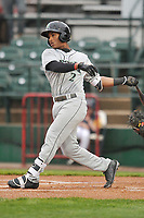 Dayton Dragons shortstop Jeter Downs (2) swings at pitch against the Burlington Bees at Community Field on May 2, 2018 in Burlington, Iowa.  (Dennis Hubbard/Four Seam Images)