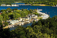 Aerial views of the city of Saugatuck Michigan