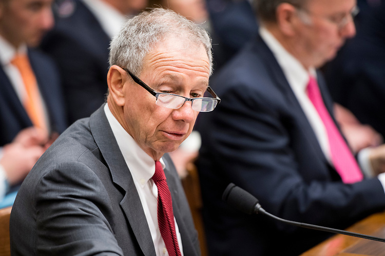 """UNITED STATES - APRIL 17: Michael Griffin, Under Secretary of Defense for Research and Engineering, takes his seat for the House Armed Services Committee hearing on """"Promoting DOD's Culture of Innovation"""" on Tuesday, April 17, 2018. (Photo By Bill Clark/CQ Roll Call)"""