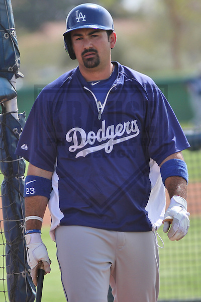 GLENDALE - March 2013: Adrian Gonzalez (23)  of the Los Angeles Dodgers during a Spring Training workout on March 21, 2013 at Camelback Ranch in Glendale, Arizona.  (Photo by Brad Krause). .