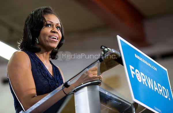 LAS VEGAS, NV - October 26:  Michelle Obama speaks t Grassroots Supporters at Orr Middle School Gymnasium on October 25, 2012 in Las Vegas, Nevada. © Kabik/ Starltepics /MediaPunch Inc.
