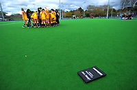 Action from the 2017 Jenny Hair Cup girls hockey match between Taupo Nui A Tia (black and red) and Wellington College(yellow) at Hockey Manawatu Twin Turfs in Palmerston North, New Zealand on Wednesday, 6 September 2017. Photo: Dave Lintott / lintottphoto.co.nz