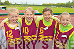 Ailish Donovan, Gabrielle Lukoste, Clodagh O'Connor and Danute Voveyte Presentation Castleisland runners at the County National Schools athletics finals in Castleisland On Saturday