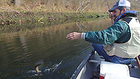 NWA Democrat-Gazette/FLIP PUTTHOFF<br /> Tonkinson catches a rainbow trout Dec. 11, 2015 during a canoe trip on the White River below Beaver Dam.