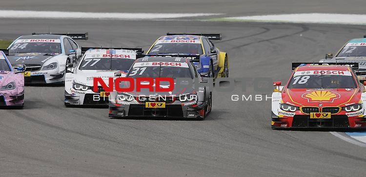 DTM 2015, 01.Lauf Hockenheimring, 01.05. - 03.05.15 <br /> Tom Blomqvist (SWE#31) BMW Team RBM BMW M4 DTM, Martin Tomczyk (DEU#77) BMW Team Schnitzer BMW M4 DTM <br /> <br /> <br /> <br /> Foto &copy; nordphoto /  Bratic