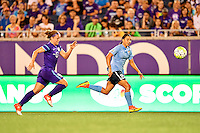 Orlando, FL - Saturday September 10, 2016: Josee Belanger, Samantha Kerr during a regular season National Women's Soccer League (NWSL) match between the Orlando Pride and Sky Blue FC at Camping World Stadium.