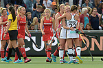 NED - Amsterdam, Netherlands, August 20: During the women Pool B group match between Germany (white) and England (red) at the Rabo EuroHockey Championships 2017 August 20, 2017 at Wagener Stadium in Amsterdam, Netherlands. Final score 1-0. (Photo by Dirk Markgraf / www.265-images.com) *** Local caption *** Nike Lorenz #4 of Germany, Cecile Pieper #22 of Germany