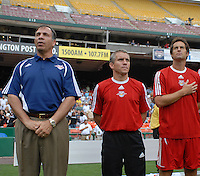 New York Red Bulls Head Coach Bruce Arena, left and assistants Richie Williams middle and John Harkes right during the National Anthem. DC United defeated the New York Red Bulls, 4-2, at RFK Stadium in Washington DC, Sunday, June 10 , 2007.