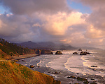 Ecola State Park, OR<br /> Crescent Beach and rolling surf in evening light - Tillamook Head