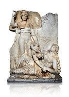 Roman Sebasteion relief  sculpture of the goddess Roma and Ge (Earth),  Aphrodisias Museum, Aphrodisias, Turkey.  Against a white background. <br /> <br /> The goddess Roma holds a spear and wears a crown in the form of a city wall. Earth reclines half naked leaning on a pile of fruit. She holds a cornucopia full of more fruit. A baby child (now damaged) climbs up the horn she holds. The relief represents Earths fertility and abundance overseen by Rome.