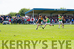 Stacks David Mannix ahead of South Kerry's Conor O'Shea drives this hard and through finding the net past keeper Brian O'Connor.