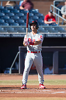Scottsdale Scorpions right fielder Austin Listi (23), of the Philadelphia Phillies organization, at bat during an Arizona Fall League game against the Peoria Javelinas at Peoria Sports Complex on November 15, 2018 in Mesa, Arizona. Peoria defeated Scottsdale 2-1. (Zachary Lucy/Four Seam Images)