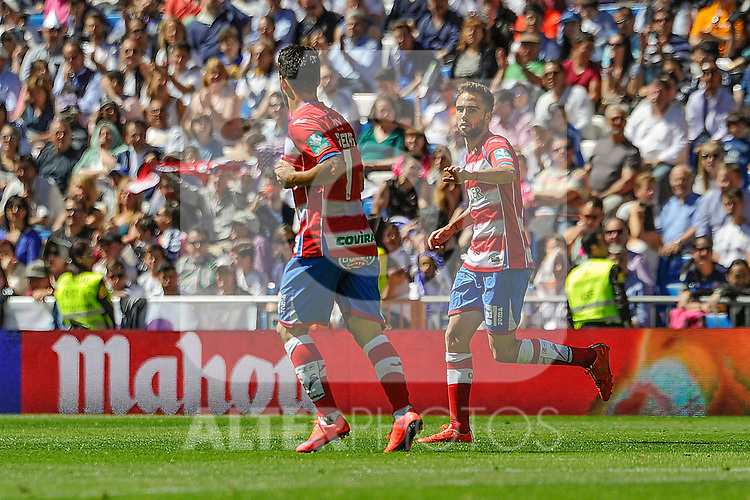 Granada´s Daniel Candeias and Robert Ibanez celebrates a goal during 2014-15 La Liga match between Real Madrid and Granada at Santiago Bernabeu stadium in Madrid, Spain. April 05, 2015. (ALTERPHOTOS/Luis Fernandez)