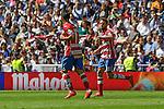Granada´s Daniel Candeias and Robert Ibanez celebrates a goal during 2014-15 La Liga match between Real Madrid and Granada at Santiago Bernabeu stadium in Madrid, Spain. April 05, 2015. (ALTERPHOTOS/Luis Fernandez)