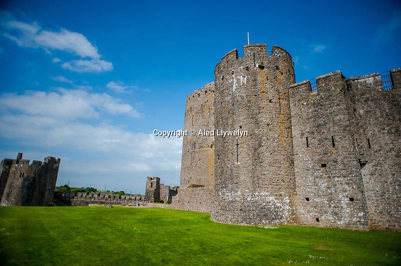 Thursday  19  June  2014<br /> <br /> Pictured:Exterior view of  Pembroke Castle, Wales UK <br /> Re:  Views of Pembroke Castle