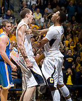 Allen Crabbe of California celebrates with David Kravish of California during the game against UCLA at Haas Pavilion in Berkeley, California on February 14th, 2013.   California defeated UCLA, 77-63.