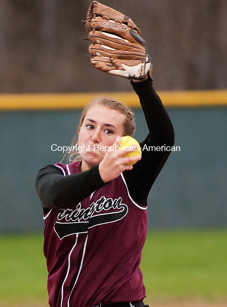 WOLCOTT, CT--050115JS02- Torrington's Alexandra Dubois  (22) delivers a pitch during their game against Wolcott  Friday at Wolcott High School.<br /> Jim Shannon Republican-American