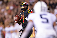College Park, MD - SEPT 27, 2019: Maryland Terrapins quarterback Josh Jackson (17) surveys the field during game between Maryland and Penn State at Capital One Field at Maryland Stadium in College Park, MD. The Nittany Lions beat the Terps 50-0. (Photo by Phil Peters/Media Images International)