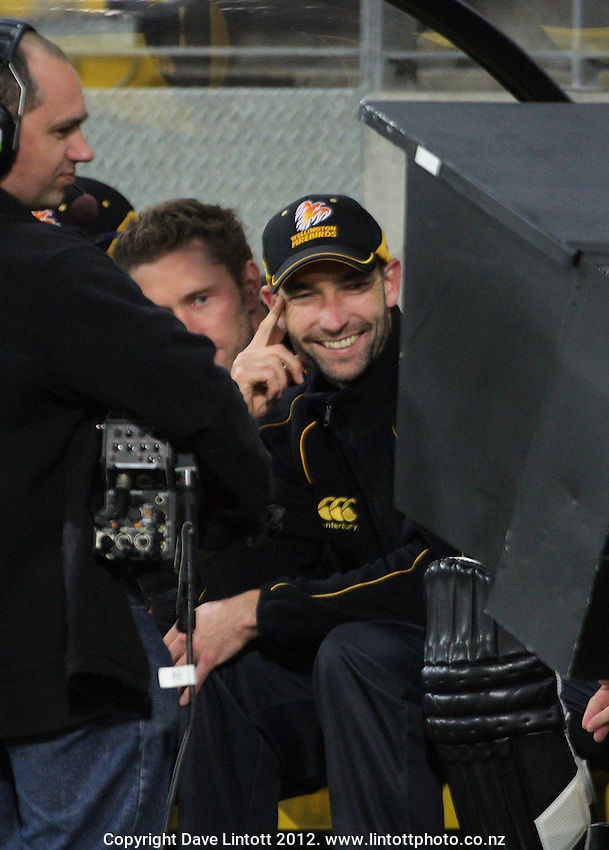 Andy McKay watches a replay during the HRV Cup Twenty20 cricket match between Wellington Firebirds and Canterbury Wizards at Westpac Stadium, Wellington, New Zealand on Friday, 9 November 2012. Photo: Dave Lintott / lintottphoto.co.nz
