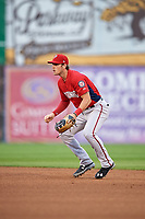 Potomac Nationals second baseman David Masters (8) during the first game of a doubleheader against the Salem Red Sox on June 11, 2018 at Haley Toyota Field in Salem, Virginia.  Potomac defeated Salem 9-4.  (Mike Janes/Four Seam Images)