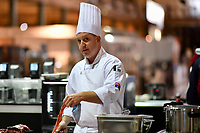 Melbourne, 30 May 2017 - Michael Cole of the Georgie Bass CafÈ & Cookery in Flinders prepares the meat at the Australian selection trials of the Bocuse d'Or culinary competition held during the Food Service Australia show at the Royal Exhibition Building in Melbourne, Australia. Photo Sydney Low