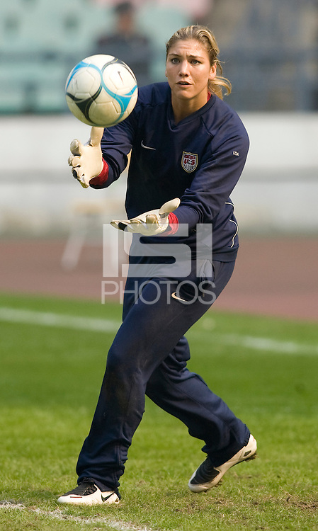 USA goalkeeper Hope Solo. The United States defeated China 1-0 during the finals of the Four Nations Tournament in Guangzhou, China on January 20, 2008.