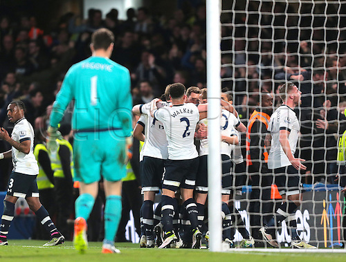 02.05.2016. Stamford Bridge, London, England. Barclays Premier League. Chelsea versus Tottenham Hotspur. Tottenham Hotspur  Forward Son Heung-Min makes it 2-0 Tottenham, and celebrates with his team mates in front of his fans, as Chelsea Goalkeeper Asmir Begović looks to the ground in dejection