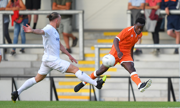 Blackpool's Marc Bola in action<br /> <br /> Photographer Dave Howarth/CameraSport<br /> <br /> Football Pre-Season Friendly - AFC Fylde v Blackpool - Tuesday July 16th 2019 - Mill Farm - Fylde<br /> <br /> World Copyright © 2019 CameraSport. All rights reserved. 43 Linden Ave. Countesthorpe. Leicester. England. LE8 5PG - Tel: +44 (0) 116 277 4147 - admin@camerasport.com - www.camerasport.com