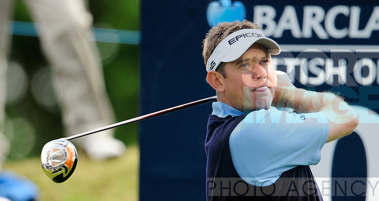 Lee Westwood of England tees off on the 10th