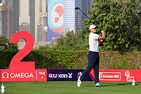 Tom Lewis (ENG) on the 2nd tee during Round 3 of the Omega Dubai Desert Classic, Emirates Golf Club, Dubai,  United Arab Emirates. 26/01/2019<br /> Picture: Golffile | Thos Caffrey<br /> <br /> <br /> All photo usage must carry mandatory copyright credit (© Golffile | Thos Caffrey)