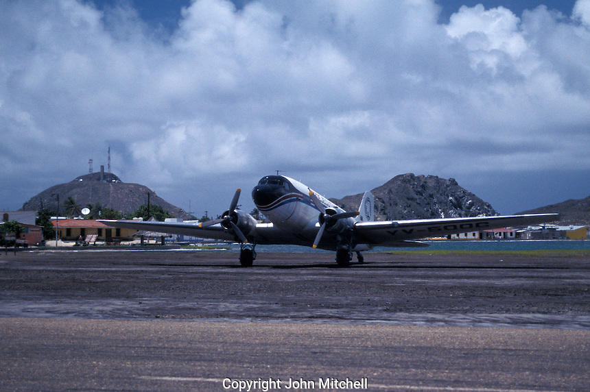 Refurbished DC3 aircraft at the airport on Gran Roque island, Archipielago Los Roques, Venezuela