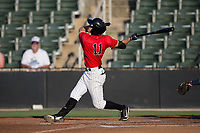 Jameson Fisher (11) of the Kannapolis Intimidators follows through on his swing against the Hagerstown Suns at Kannapolis Intimidators Stadium on June 15, 2017 in Kannapolis, North Carolina.  The Intimidators defeated the Suns 9-1 in game two of a double-header.  (Brian Westerholt/Four Seam Images)