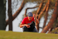 Henrik Stenson (SWE) lines up a putt on the 17th hole during the third round of the 118th U.S. Open Championship at Shinnecock Hills Golf Club in Southampton, NY, USA. 16th June 2018.<br /> Picture: Golffile | Brian Spurlock<br /> <br /> <br /> All photo usage must carry mandatory copyright credit (&copy; Golffile | Brian Spurlock)