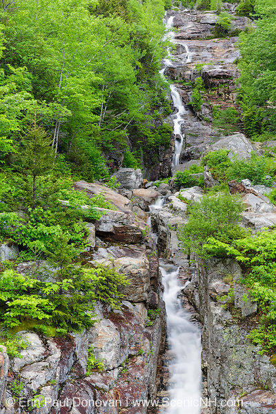 Silver Cascade in Crawford Notch State Park, New Hampshire USA during the spring months. This is a roadside attraction along Route 302.