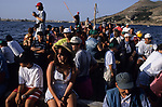 ITALY, Sicily, Egedian island Favignana, La Mattanza, traditional fishing of bluefin Tuna fish, tourists observing the spectacle