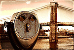 Textured image of Brooklyn Bridge with coin-operated telescope in foreground, vintage postcard -style.