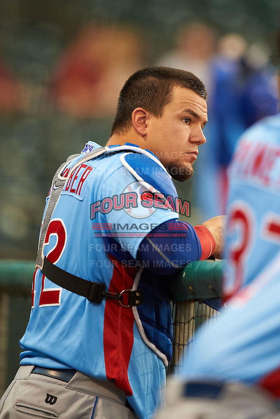 Tennessee Smokies catcher Kyle Schwarber (12) in the dugout during a game against the Montgomery Biscuits on May 25, 2015 at Riverwalk Stadium in Montgomery, Alabama.  Tennessee defeated Montgomery 6-3 as the game was called after eight innings due to rain.  (Mike Janes/Four Seam Images)