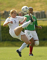 MEXSPORT DIGITAL IMAGE.18 February 2004:  Action photo of Patricia Perez of Mexico womens team,fighting for the ball with Rachel Buehler of United States,during the friendly game at Mexico city,Mexico won 2-1. MEXSPORT/FRANCISCO VEGA/ISI