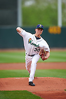 Cedar Rapids Kernels starting pitcher Cody Stashak (30) delivers a pitch during the first game of a doubleheader against the Kane County Cougars on May 10, 2016 at Perfect Game Field in Cedar Rapids, Iowa.  Kane County defeated Cedar Rapids 2-0.  (Mike Janes/Four Seam Images)