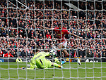 Marcus Rashford of Manchester United scores the first goal during the English Premier League match at Old Trafford Stadium, Manchester. Picture date: April 16th 2017. Pic credit should read: Simon Bellis/Sportimage