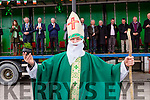 St patrick aka Paul Darmody hoping to give some divine inspiration to the policticians at  the Rathmore St Patricks parade on Sunday