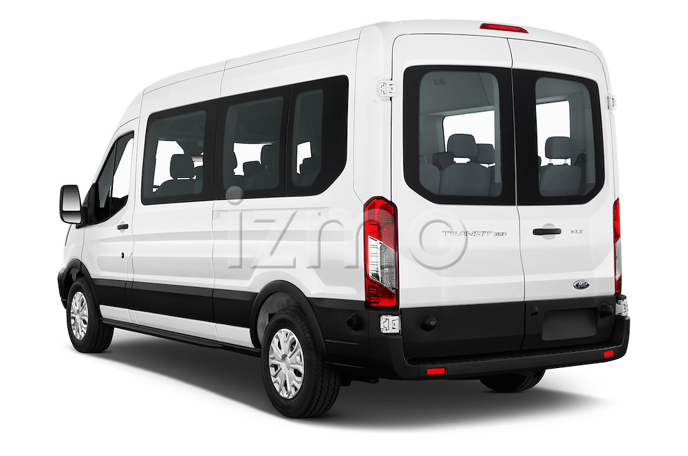 Car pictures of rear three quarter view of 2016 Ford Transit 350-XLT-Med-Roof 4 Door Passenger Van Angular Rear