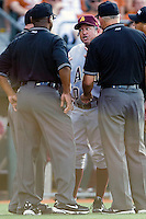 Arizona State Sun Devil Head Coach Tim Emsay argues with the umpires during the game against the Texas Longhorns in NCAA Tournament Super Regional Game #3 on June 12, 2011 at Disch Falk Field in Austin, Texas. (Photo by Andrew Woolley / Four Seam Images)