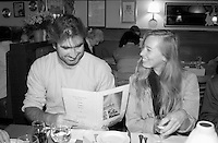 Sept 1,  2003, Montreal, Quebec, Canada<br /> <br /> Eric Cantona, actor - L'OUTREMANGEUR (THE OVEREATER) (L) and Isild Le Besco, Actress (R)<br /> check out the menu, at a private dinner during the Montreal World Film Festival, Sept 1 2003<br /> <br /> The Festival runs from August 27th to september 7th, 2003<br /> <br /> <br /> Mandatory Credit: Photo by Pierre Roussel- Images Distribution. (©) Copyright 2003 by Pierre Roussel <br /> <br /> All Photos are on www.photoreflect.com, filed by date and events. For private and media sales