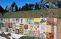Walls around the town of Jaimanitas in Havana Cuba home of the world famous ceramic artist Jose Fuster with his wild color tiles in Habana