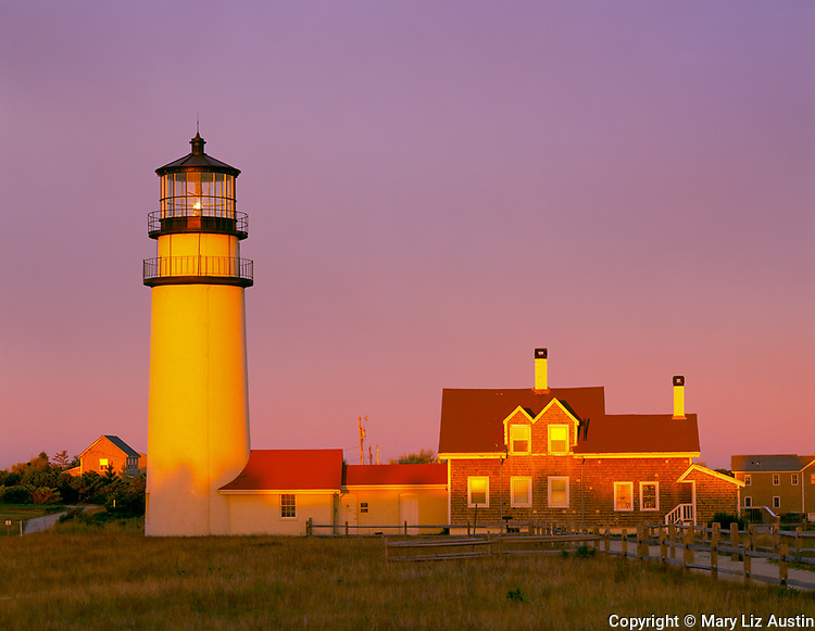 Cape Cod National Seashore, MA: Highland Light renamed Cape Cod Light and the Queen Anne style keeper's house (1854) at sunrise