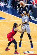 Washington, DC - Sept 17, 2017: Washington Mystics guard Allison Hightower (23) hits a jump shot over Washington Mystics guard Natasha Cloud (9) during playoff game between the Mystics and Lynx at the Verizon Center in Washington, DC. (Photo by Phil Peters/Media Images International)