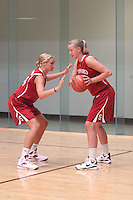 STANFORD, CA - JUNE 23:  Joslyn Tinkle and Mikaela Ruef of the Stanford Cardinal during a photo shoot at the Arrillaga Family Sports Center in Stanford, California.