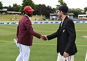 9th December 2017, Seddon Park, Hamilton, New Zealand; International Test Cricket, 2nd Test, Day 1, New Zealand versus West Indies;  Captains Kraigg Brathwaite and Kane Williamson shake hands