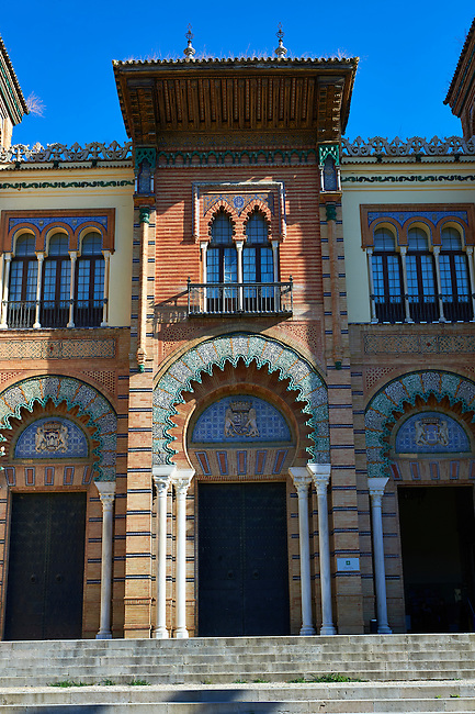 The arabesque architecture of the Museum of Arts and Traditions in America square, Seville Spain